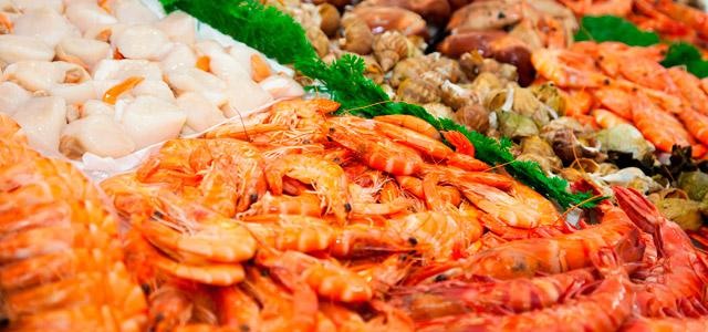 Camarões frescos para o preparo do acarajé