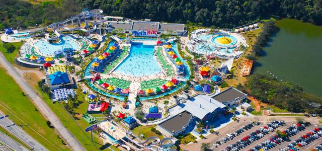 Vista aérea do parque aquático Wen't Wild