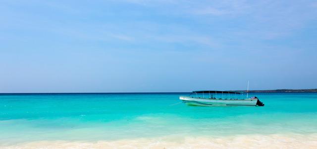 Águas cor turquesa nas praias de Cartagena