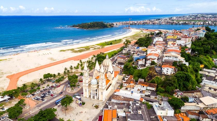 Vista aérea de Ilhéus, na Bahia