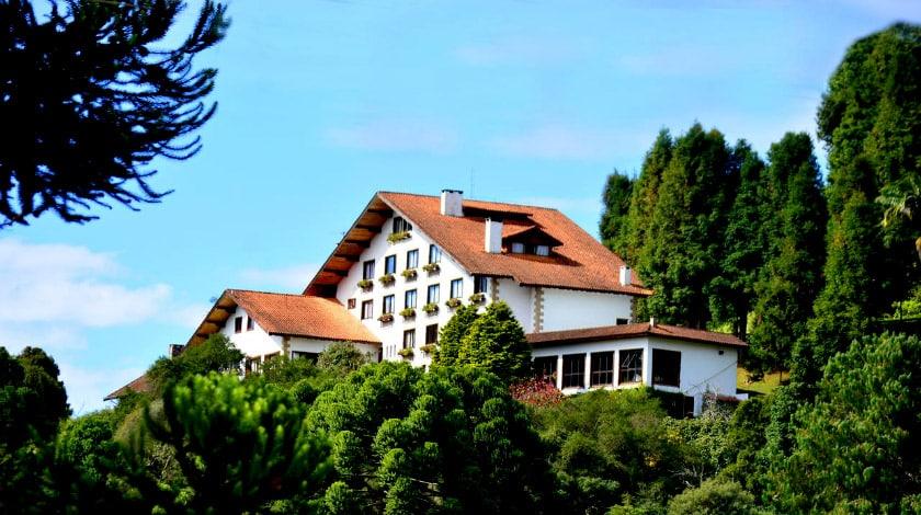 Fachada do Hotel Meissner-Hof, hotel romântico em Monte Verde
