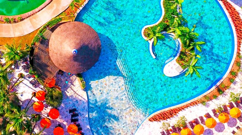 Vista aérea do parque aquático Hot Beach Olímpia
