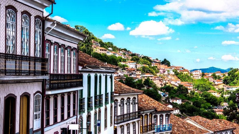 Casas estilo barroca de Ouro Preto, cidade de Minas Gerais