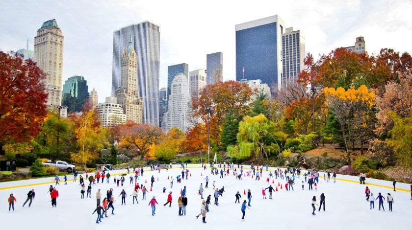 Pista de patinação durante o inverno em Nova York