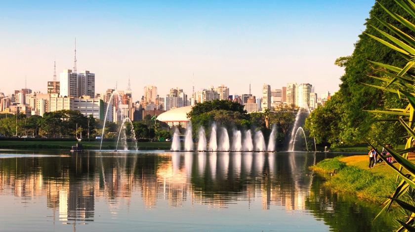 Vista do lago do Parque do Ibirapuera