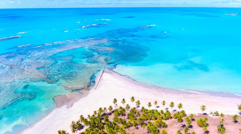 Piscinas naturais e coqueiros na Praia de Ipioca