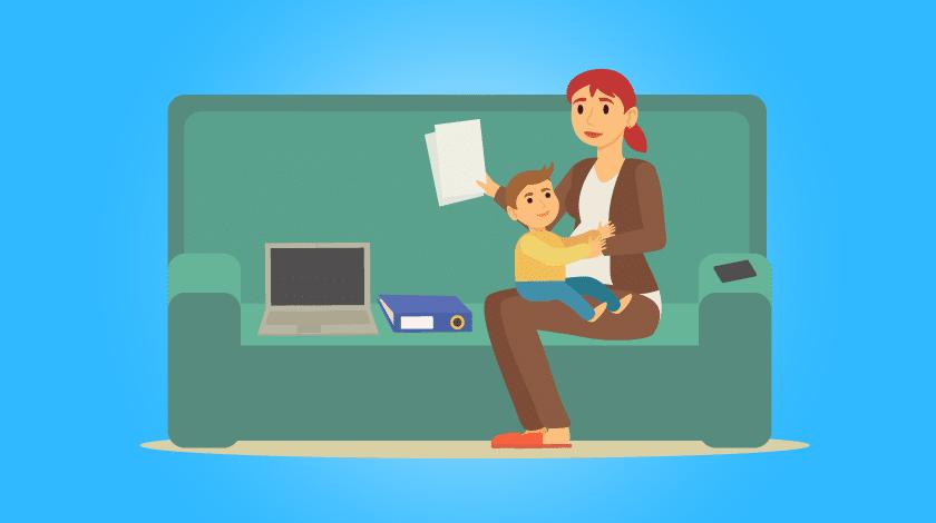 Maternidade e home office: ilustração de mãe e criança sentadas no sofá, com notebook e pastas