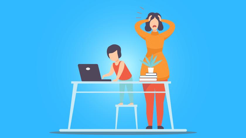 Maternidade e home office: ilustração de criança mexendo no computador da mãe