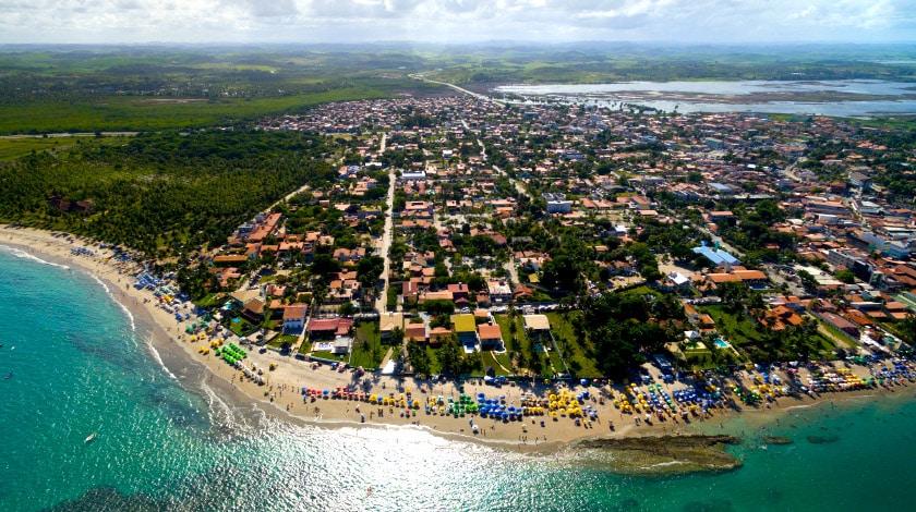 Vista aérea da praia principal de Porto de Galinhas