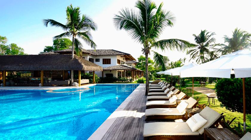Piscina do Campo Bahia Villas Spa, hotel no sul da Bahia
