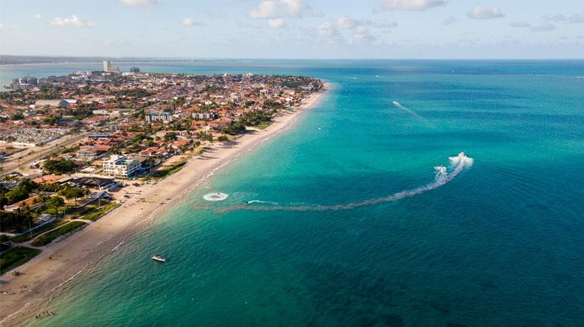 Vista aérea da Praia Formosa, em Cabedelo - PB