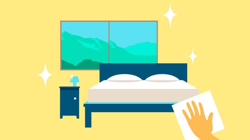 Ilustração de limpeza nas acomodações dos villages Club Med
