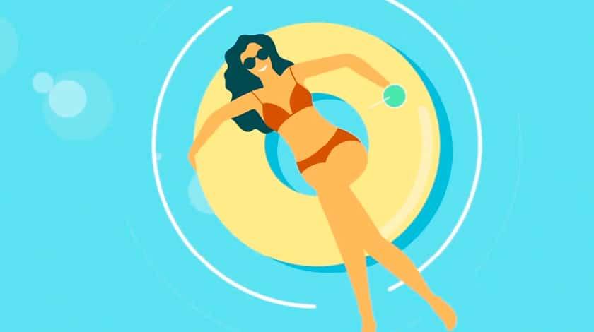 Ilustração de mulher na piscina