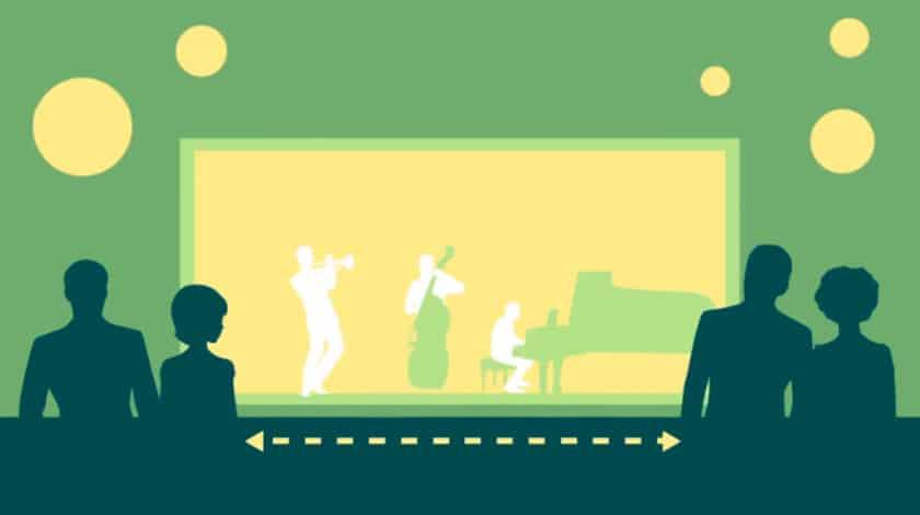 Ilustração de eventos noturnos com distanciamento nos resorts Club Med