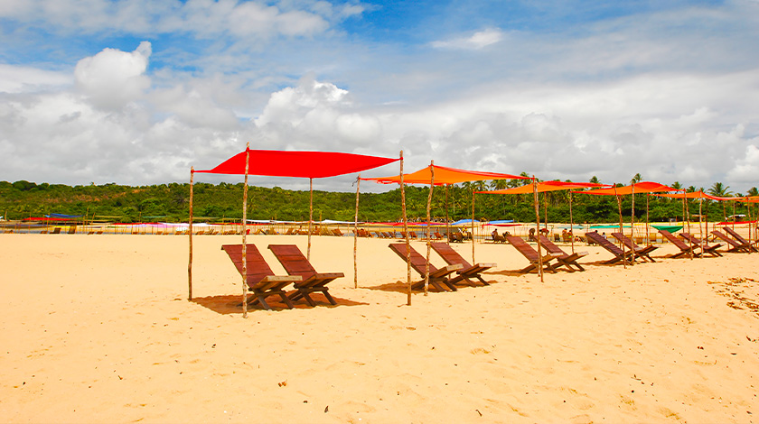 Praia em Caraíva, na Bahia